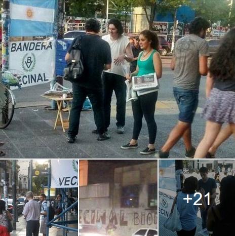 """Militancia: Distribución de """"Bandera"""" y pintadas de La Passaponti"""