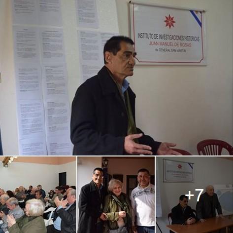 """Bandera Vecinal presente en disertación de VGM Carlos Curbelo en """"Instituto Juan Manuel de Rosas"""" de San Martín"""