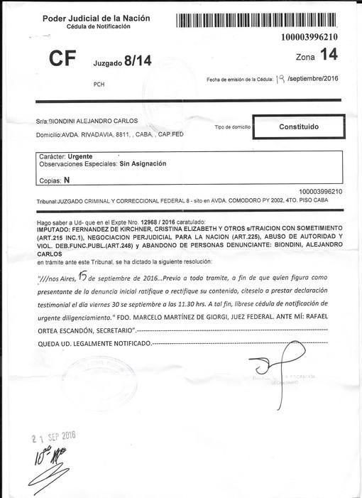 Facsímil de la citación a Alejandro Biondini a ratificar la denuncia penal, emitida por el Juez Federal Marcelo Martínez de Giorgi