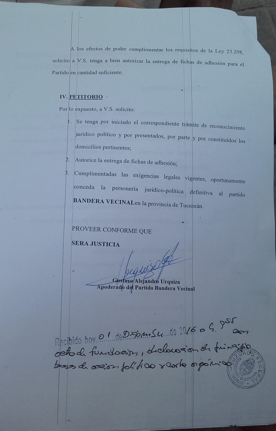 Fascímil última hoja documento presentado, con sello Justicia