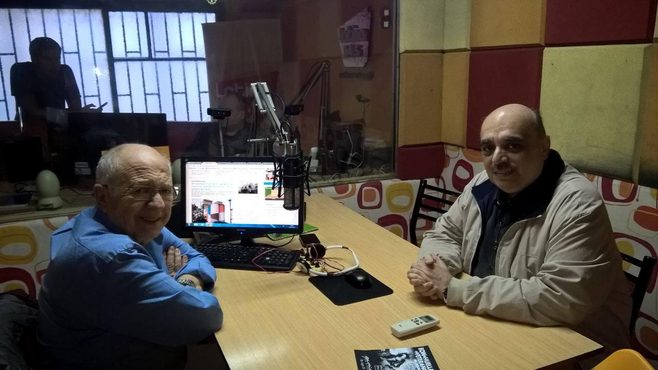 "Biondini en FM Latina 94.5 junto al periodista Pedro Aramburu, conductor del programa ""La Penúltima Palabra"""